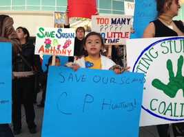 A protest was held Wednesday at the Boys and Girls Club of Greater Sacramento, over some proposed school cuts. Eleven schools are on the chopping block in the Sacramento City Unified School District. Protesters marched from the club to the Serna Center (Feb. 20, 2013).