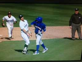 KCRA 3 photographer Paul Westbrook captured video of the punch that led to a bench-clearing brawl during Friday's baseball game between Sacramento State and UC Riverside.