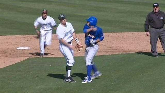 Raw video: Sacramento State baseball team's home opener against the UC Riverside Highlanders was interupted by a bench-clearing brawl.