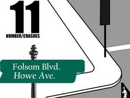 Folsom Boulevard and Howe Avenue: 11 crashes reported in 2012Source: Sacramento Police Department