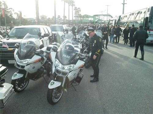 Law enforcement officers get ready to leave Santa Cruz as part of Thursday's procession.