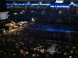 A look inside HP Pavilion during Thursday's memorial service.