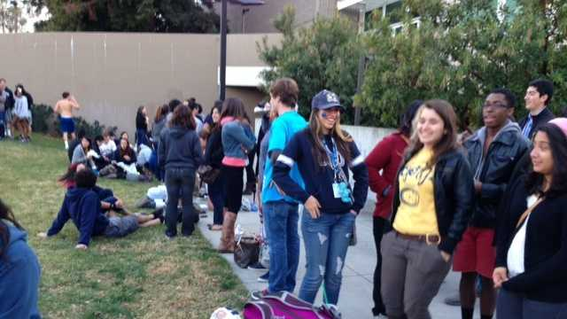 UC Davis students wait for the game vs. Long Beach State on Thursday evening, the Aggies' first nationally televised matchup (March 7, 2013).