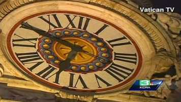 A view of the clock located on St. Peter's Basilica. The clock has been electronically operated since 1931.