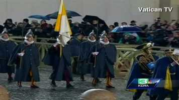 The Swiss Guard entering St. Peter's Square.
