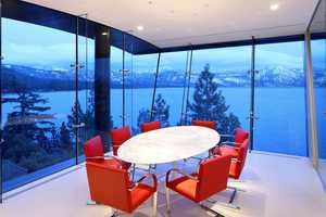 The dining area also has lake views.
