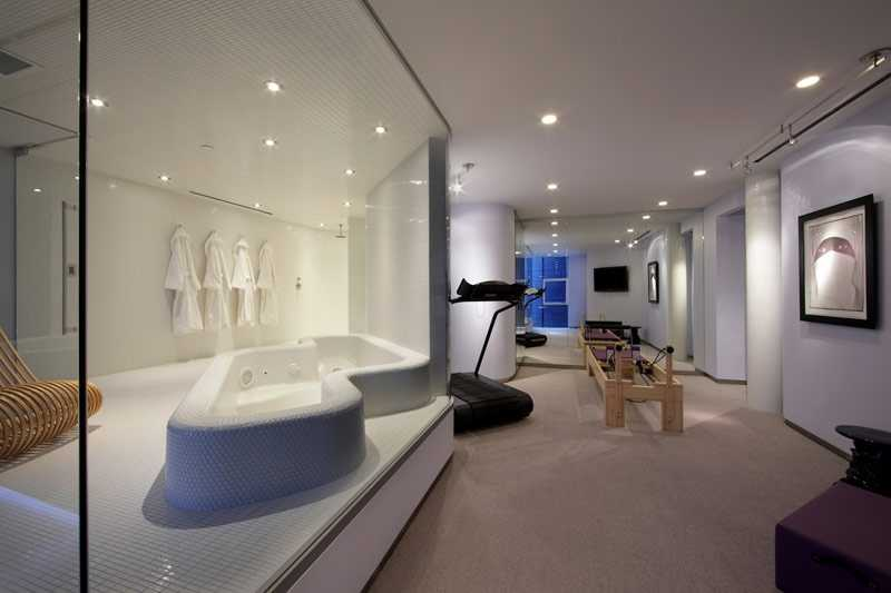 This home is complete with a workout area.