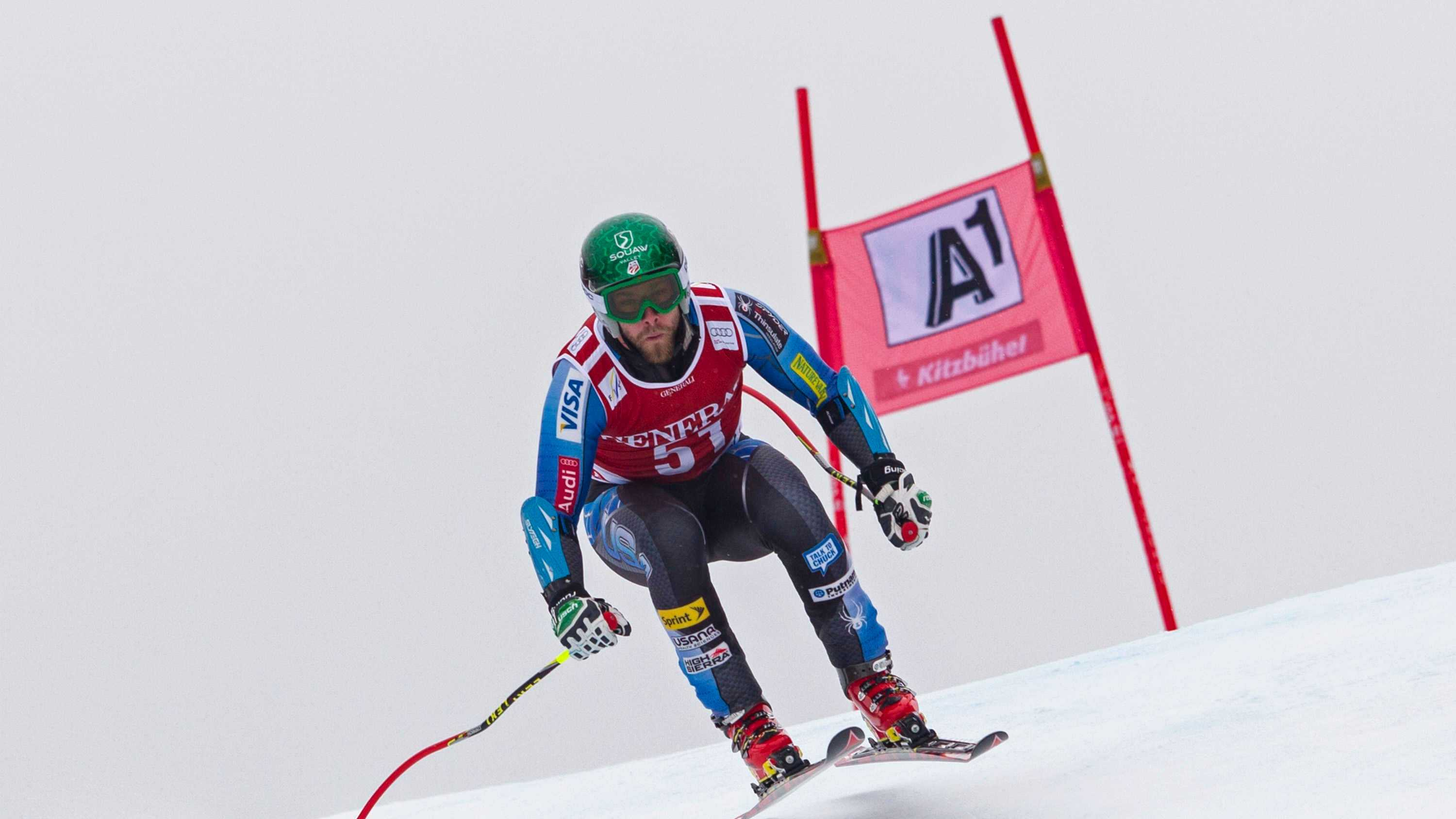Travis Ganong races down the course during the Audi FIS Alpine Ski World Cup Super G on Jan. 25 in Kitzbuhel, Austria.
