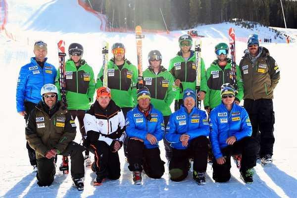 2012-13 U.S. Alpine Ski TeamMen's Speed A-TeamBack row (left to right): Andreas Evers, Marco Sullivan, Erik Fisher, Andrew Weibrecht, Steven Nyman, Travis Ganong, TJ LanningFront row: Chris Antinori, Shawn Gaisford (Factory Service), Sasha Rearick, Scotty Veenis, Tom Smale