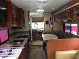 The inside of the 32-foot tour bus is shown here.