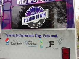 Some of the van's sponsors include Pepsi and Franklin Pictures. Several more are posted on the vehicle.