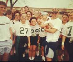 8.) Football is my favorite sport to play and watch. I played powder puff in high school at El Camino (I'm No. 29 in this picture). I've mostly played CB, WR or RB. I also played co-ed intramural flag football at Cal. It was a blast! We got to play in Memorial Stadium under the lights! Those are some of my best college memories. Now, I play any chance I get, mostly with my husband and the other dads in the neighborhood. For my birthday this year, we played a special game in the cold and mud! When I retire from TV news, I would love to try out and play for the Sacramento Sirens.