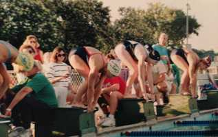 """19.) I swam competitively for 11 years in the Sacramento region. Breast stroke was my best stroke. I'm in lane No. 3 in this picture, wearing my lucky """"Sacramento All Stars"""" cap."""