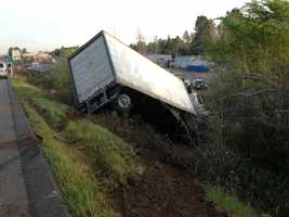 The California Highway Patrol said the driver of a mail truck fell asleep and veered off the shoulder of Highway 49 Monday before crashing into an embankment in Auburn.