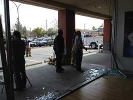 A vehicle ripped through two businesses at a Fair Oaks strip mall, before coming to a stop outside of a deli.