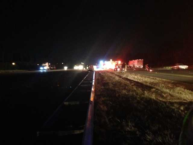 A truck carrying chlorine crashed and spilled its load on Interstate 80 near Elkhorn Boulevard, closing down one lane Friday.