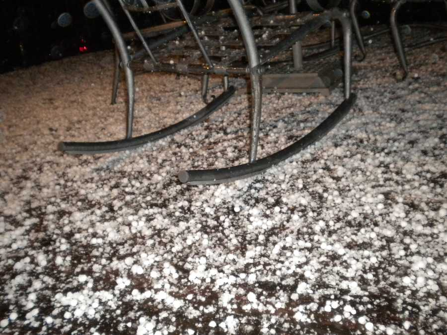 Hail covered this porch in Pioneer during the early morning hours on Sunday.