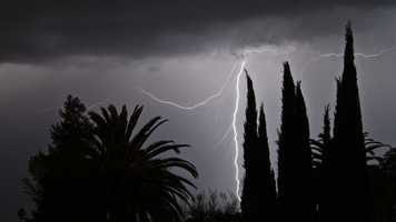 Lightning was seen near the Pocket area of South Sacramento on Saturday night.