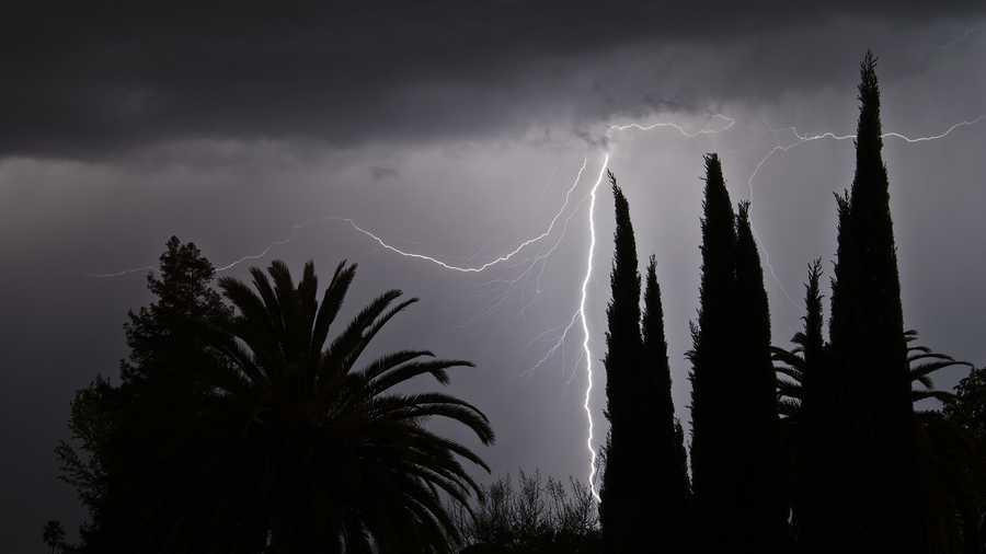 Lightning was seen near the Pocket area of South Sacramento on Saturday night.