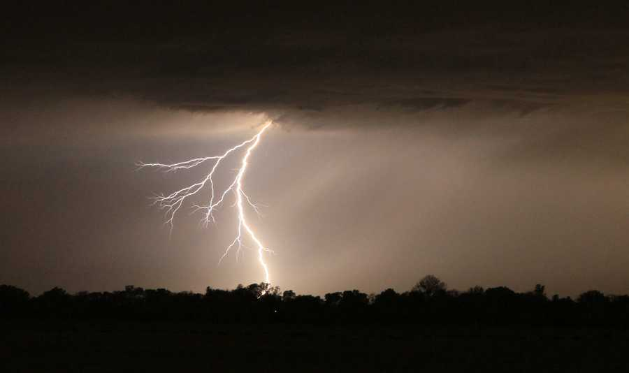 On Saturday night, a lightning bolt was seen over the Altamont Pass.