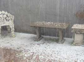 Heavy hail was seen in this Manteca backyard.