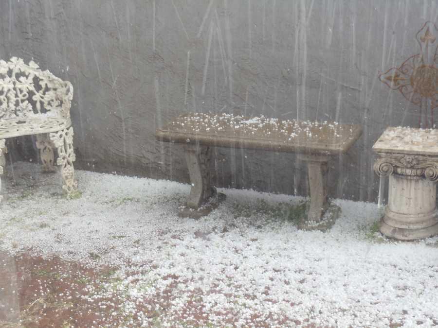 Heavy hail was seen in this Manteca backyard.