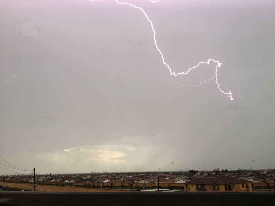 Manteca residents saw lightning on Sunday afternoon.