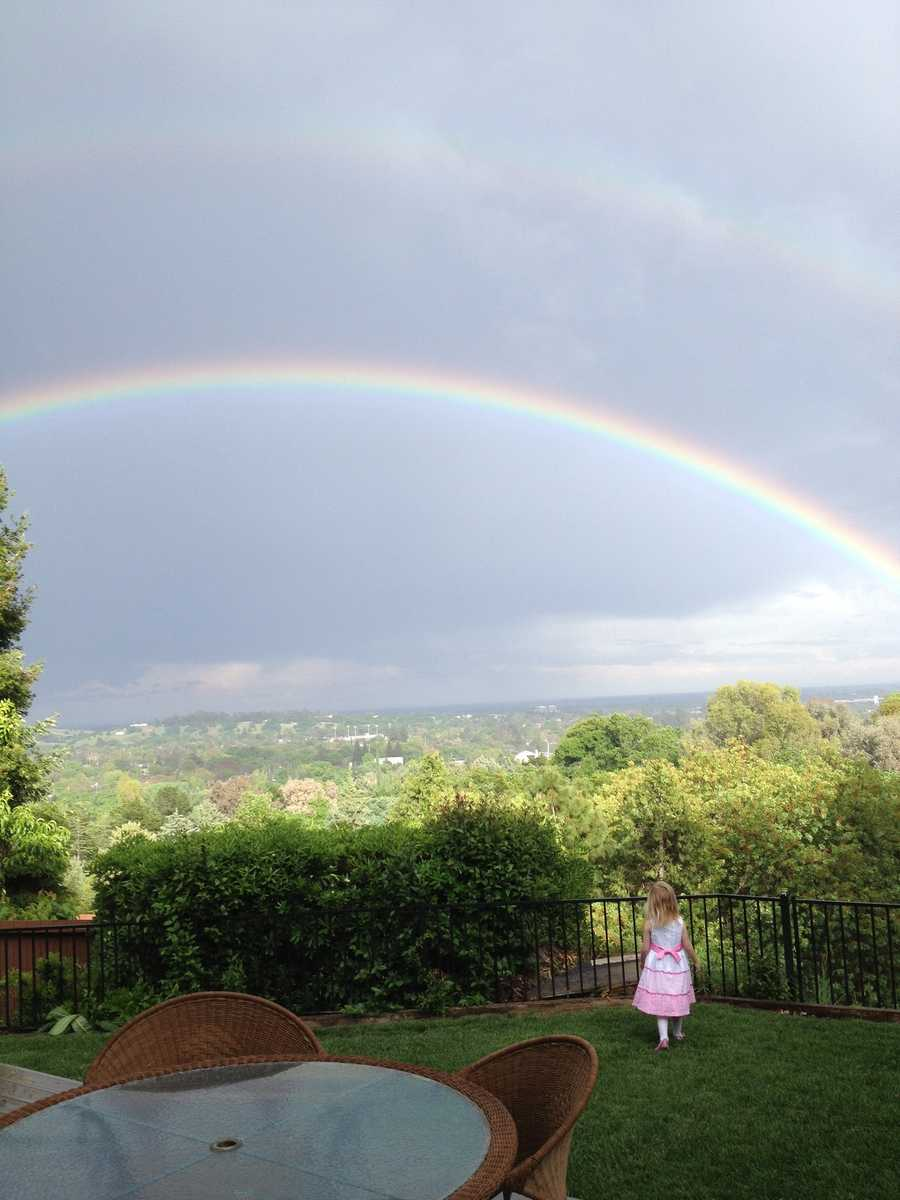 A rainbow was seen during the middle of the day on Sunday.