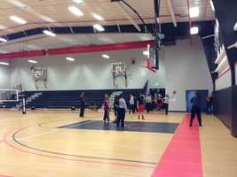 The gym floor is made from a combination of a high level of recycled content and other materials.