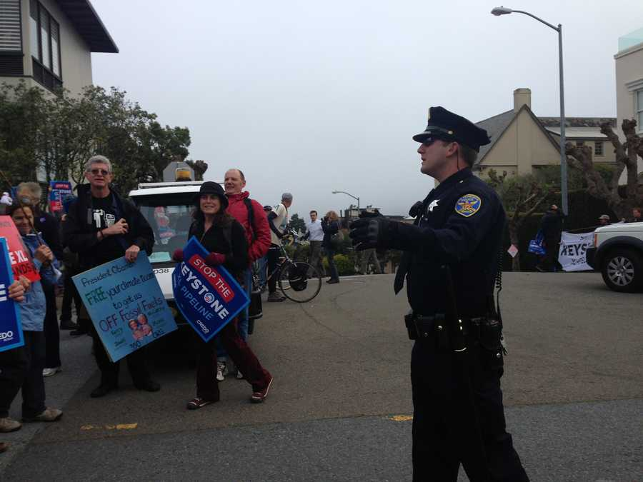 A large group of protesters was in San Francisco on Wednesday evening, near the home where President Obama was scheduled to attend a fundraising event.