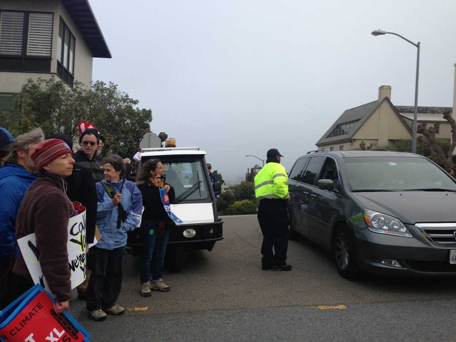 A large group of protesters was in San Francisco, near the home where President Obama was scheduled to attend a fundraising event Wednesday evening.