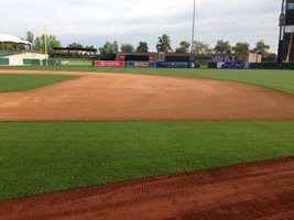 """The infield was also resurfaced with 350 tons of """"infield mix""""."""