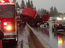 A big rig crash is blocking lanes on Interstate 5 during a wet Thursday morning commute in Sacramento County.