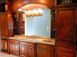 The master suite, which is 2,200-square-feet, has this vanity area.