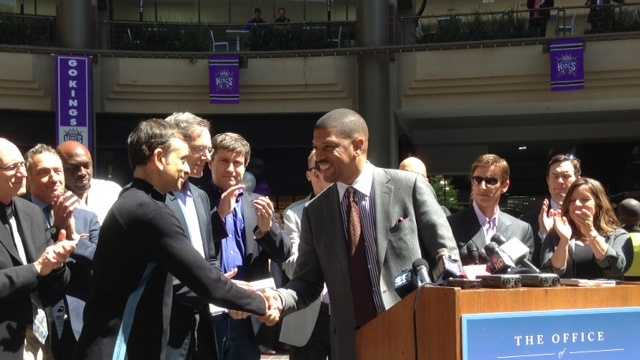 Sacramento Mayor Kevin Johnson speaks with the potential investment team Tuesday (April 16, 2013).