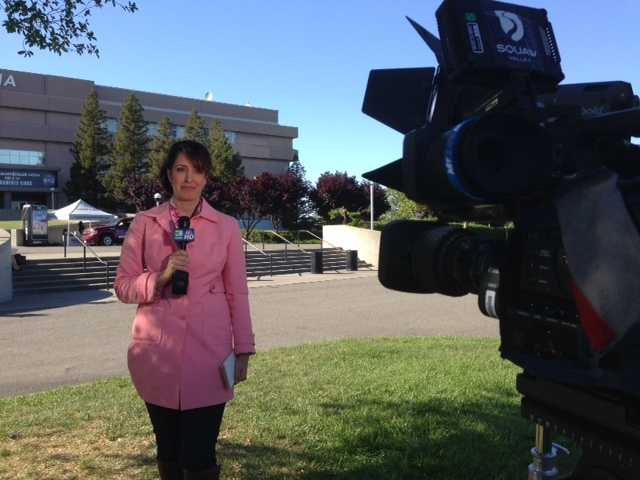 KCRA 3 anchor Edie Lambert reports in front of Sleep Train Arena (April 17, 2013).