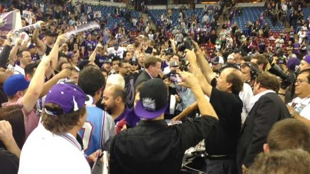 Fans cheer during the Kings final regular season game earlier this month.