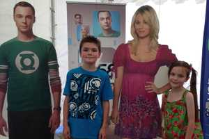 Posing with Sheldon and Penny