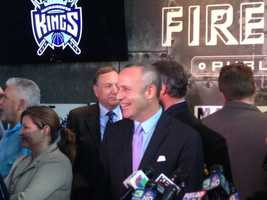 Fans gathered at Firestone Public House in Midtown on Monday to hear Sacramento Mayor Kevin Johnson speak on the NBA's Kings (April 29, 2013).