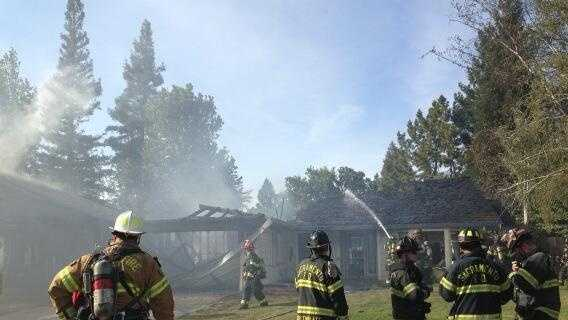 Sacramento City Fire crews battle a blaze in the Pocket neighborhood.