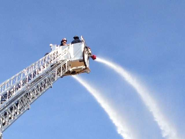 The ladder also has two fire hoses, each capable of pumping out 1,000 gallons per minute.
