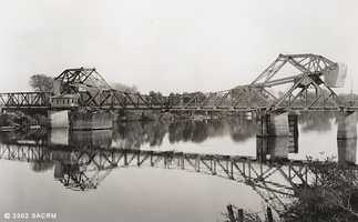 Then: The Rio Vista bridge was built in a joint effort by Sacramento and Solano counties in 1917 for a cost of $260. For 29 years, it served as the lowest crossing point on the Sacramento River. The bridge was replaced by a new span in 1960.
