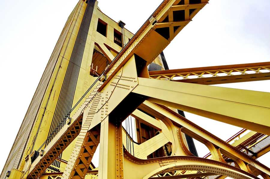 Now: A unique perspective of the Tower Bridge over the Sacramento River. It was completed in 1935 to replace a previous bridgedeemed inadequate at the time.