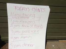 The camp agenda is posted inside (May 1, 2013).