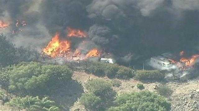 A fire burning off Highway 101 in Ventura County.