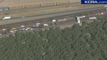 Traffic moving northbound on Highway 99 near Manteca and Highway 120 is at a crawl Thursday due to an overturned big rig.