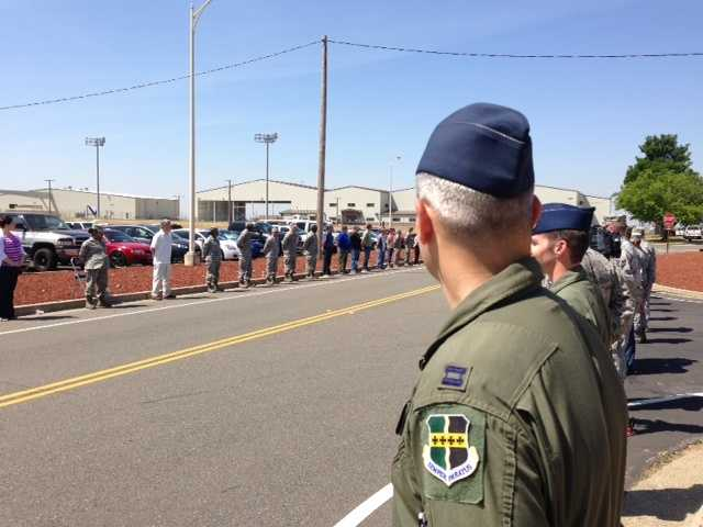 People gather Friday at Beale Airforce Base to honor the life of Staff Sgt. Richard Dickson, of Rancho Cordova.