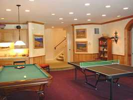 Check out this game room inside the home.