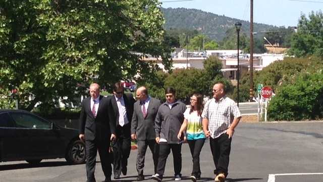 Members of the Fowler family arrive at the Calaveras County courtroom on Wednesday. (May 15, 2013)