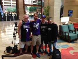 Kings fans pose for a photo in Dallas.